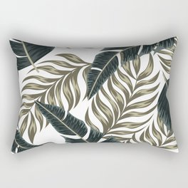 Botanical seamless tropical pattern with bright plants and leaves on a delicate background. Seamless exotic pattern with tropical plants. Colorful stylish floral. Rectangular Pillow