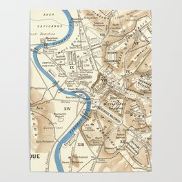 Vintage Map of Rome Italy (1870) Poster
