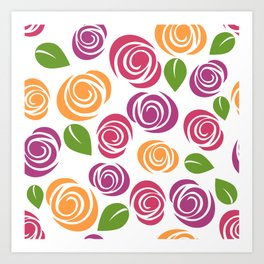 Flowers, Leaves, Blossoms - Orange Pink Purple Art Print