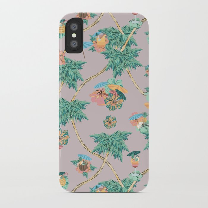 Dusty pink tropical drinks iPhone Case