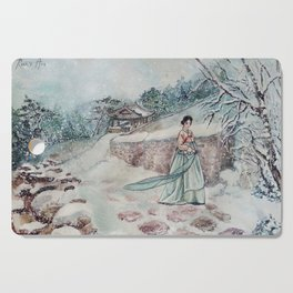 Korean Winter (Watercolor painting) Cutting Board