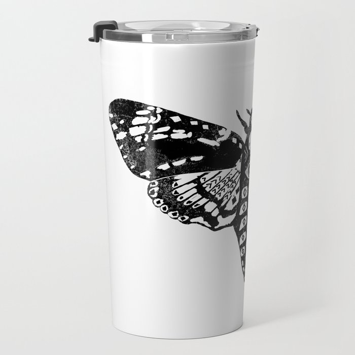 Moth linocut black and white minimal modern art print square moths nature Travel Mug