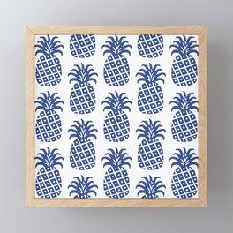 Retro Mid Century Modern Pineapple Pattern Blue Framed Mini Art Print