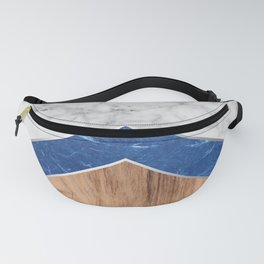 Stone Arrow Pattern - White & Blue Marble & Wood #436 Fanny Pack