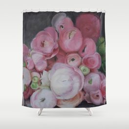 Pink Ranunculus Flower Painting Shower Curtain