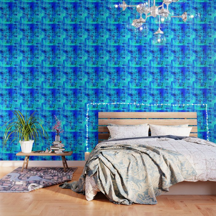 Vibrant Blue and Turquoise Line Abstract Wallpaper