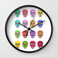 sugar skulls Wall Clocks featuring Sugar Skulls by Andrew O'Rourke