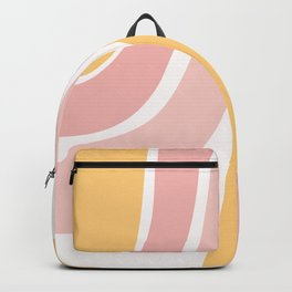 Abstract Shapes 37 in Mustard Yellow and Pale Pink Backpack