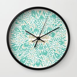 Adventure is Calling – Turquoise & Gold Palette Wall Clock