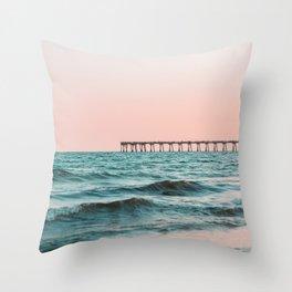 Beach Pier Sunrise Throw Pillow
