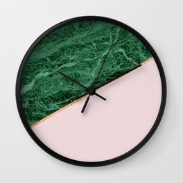 Green Marble with pink Wall Clock