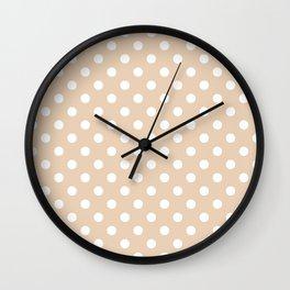 Small Polka Dots - White on Pastel Brown Wall Clock