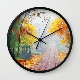 Tardis With Scenery Abstract Wall Clock