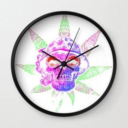 Marijuana Leaf Weed Smoking Skull with a Bucket Hat Wall Clock