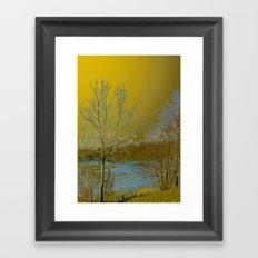 Frozen Lake and Golden Sky Framed Art Print