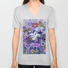 Orchids & Hummingbirds Unisex V-Neck