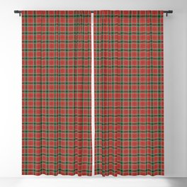 Christmas Red and Dark Green Tartan with Double White Lines Blackout Curtain