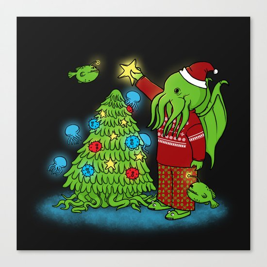 Cthulhu's Happy Holidays Canvas Print