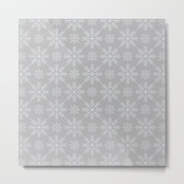 Snowflakes on Gray Metal Print