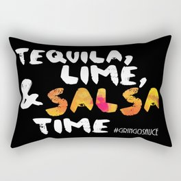 Tequila, Lime & Salsa Time (White Font) Rectangular Pillow