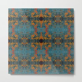 The Spindles- Blue and Orange Filigree  Metal Print