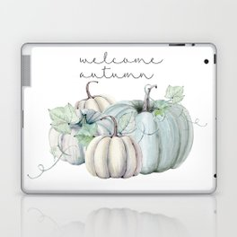 welcome autumn blue pumpkin Laptop & iPad Skin