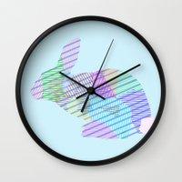 rabbit Wall Clocks featuring Rabbit by nessieness