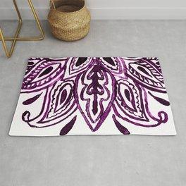 Purple Henna Watercolor Lace Design Rug