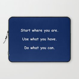 Start where you are - Arthur Ashe - navy blue print Laptop Sleeve
