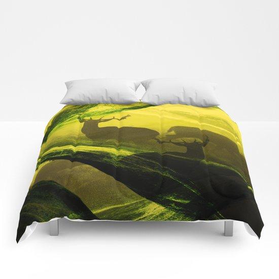 Oh Deer Complex Green Comforters