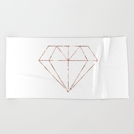 Rose gold foil diamond Beach Towel