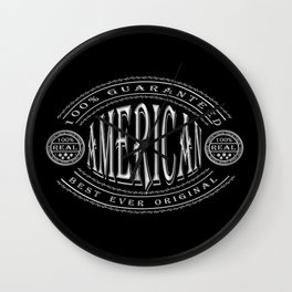 100% American (white badge on black) Wall Clock