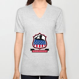 American Veteran Shield Icon Unisex V-Neck