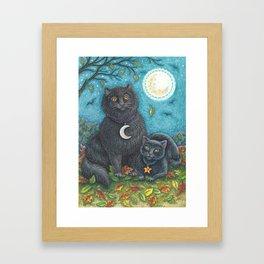 BUBO AND PYEWACKET - Brack Halloween Black Cats Framed Art Print