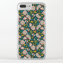 Armadillo Folk Print in Navy Clear iPhone Case