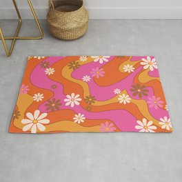 Groovy 60's and 70's Flower Power Pattern Rug