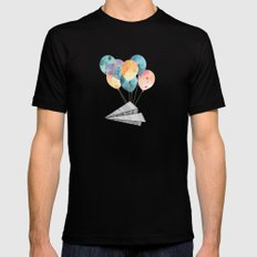 Fly paper plane! Mens Fitted Tee LARGE Black