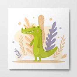 Green cute crocodile Metal Print