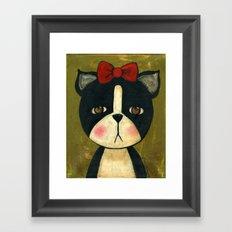 Portrait Of A Boston Terrier Dog Framed Art Print