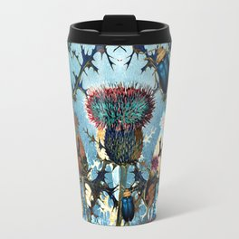 Blue Beetles and Thistles Pattern Travel Mug