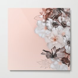 Peach Blush Scandi Roses Frame Metal Print