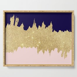 Modern navy blue blush pink gold glitter brushstrokes Serving Tray