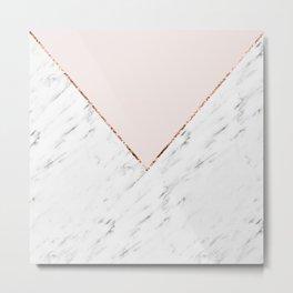 Peony blush geometric marble Metal Print