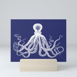 Octopus   Vintage Octopus   Tentacles   Navy Blue and White   Mini Art Print