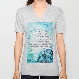 Alice in Wonderland Funny Walrus Quote Unisex V-Neck