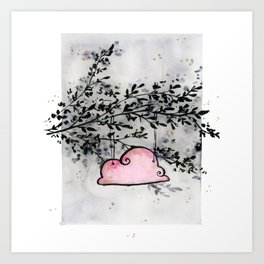 Pink Cloud dwelling in the Dark Forest Art Print