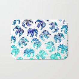 Boho turquoise blue ombre watercolor hand drawn mandala elephants pattern Bath Mat
