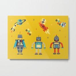 Retro Robots Metal Print