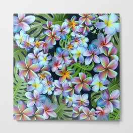 Rainbow Plumeria Dark Metal Print