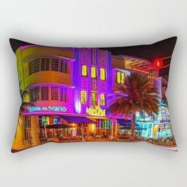 Marlin Hotel, South Beach Miami Florida Landscape Painting by Jeanpaul Ferro Rectangular Pillow